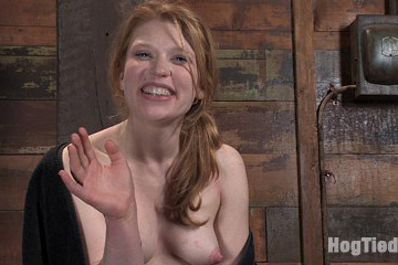Hot redhead suspended & made to cum